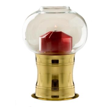 Candola - Lampe Studio messing - Höhe 17cm, Glas klar