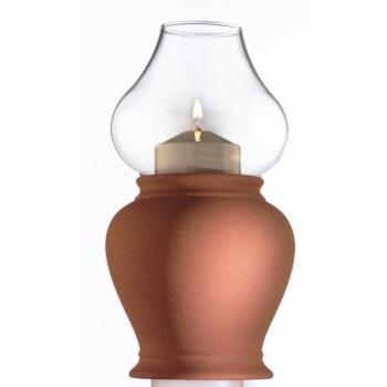 Candola - Lampe Amphora terracotta 19,5 cm - Glas klar,...