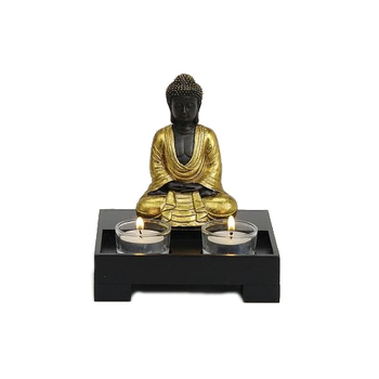 Davartis - Teelichthalter Buddha sitzend - schwarz-gold