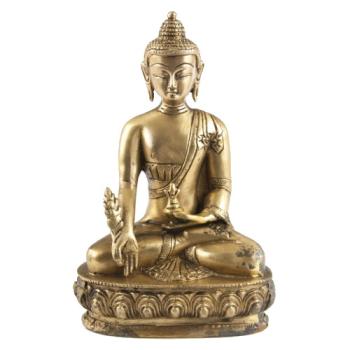 Medicinal Buddha Statue aus Messing 20cm - Heilpflanze,...