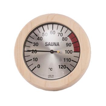 Sauna Thermometer mit rundem Holzrahmen 170mm