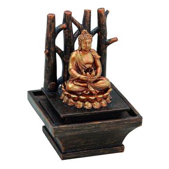 Zimmerbrunnen Buddha - Holz, Goldoptik, sitzender Buddha