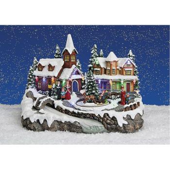 Winterszene Dorfplatz mit Fluss Miniaturfiguren mit...