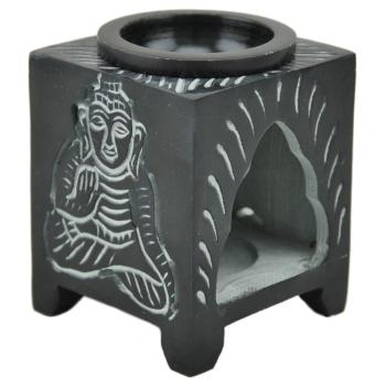 Duftlampe Buddha aus Speckstein - schwarz, Aromaöllampe