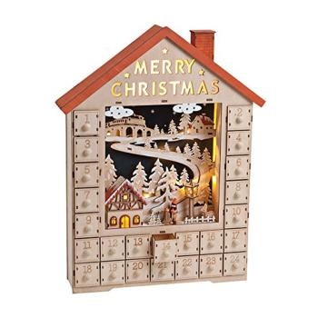 Davartis - Adventskalender Haus mit Beleuchtung aus Holz