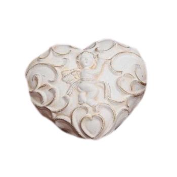 Herz/Engel aus Keramik - besonders, schwungvoll, weiß