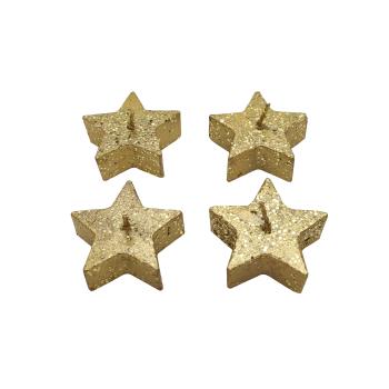 Davartis - 4er Set Glitzer Kerzen in Sternform - goldfarben