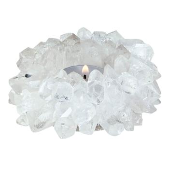 Teelichthalter Sonne aus echtem Bergkristall [silikoniert]