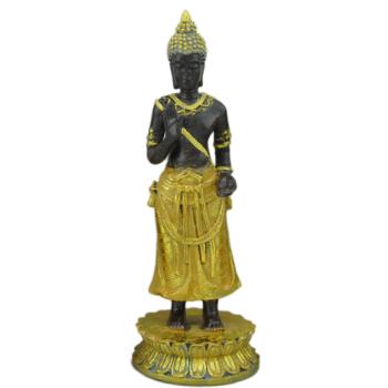Davartis - Deko Buddha Figur 15cm - schwarz & goldfarben