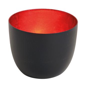 Davartis - Leuchtschale / Windlicht - Schwarz/Rot -...