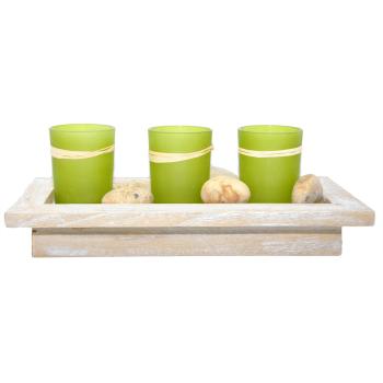 Davartis - Holztablett mit 3 Grünen Teelichthaltern...