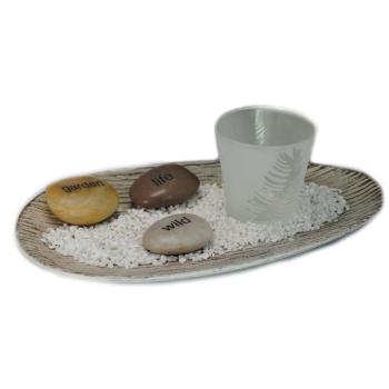 Davartis - Holztablett mit Teelichthalter und 3 Steinen