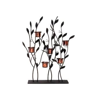 Metall Strauch/Blätter Skulptur mit 6 Windlichthaltern