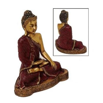 Buddha Dekostatue Thai Buddha Meditierend Gold/Rot 20cm