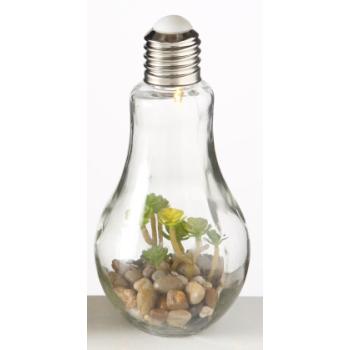 Deko Glas Glühbirne mit Kunstpflanze (1x 1Stk.)