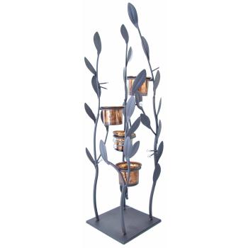 Metall Strauch/Blätter Skulptur mit 4 Windlichthaltern