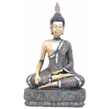 Deko Buddha silber sitzend - Glasmosaik