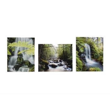 3-Set Bilder - Wasserfall - Wandbild auf Echtholz-Keilrahmen