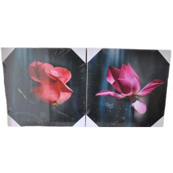2-Set Bilder - Rose - Wandbild auf Echtholz-Keilrahmen