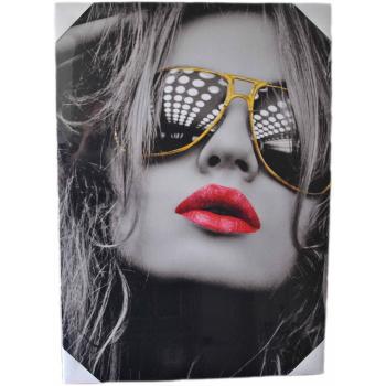 Moderne Frau mit Fliegerbrille - Wandbild auf...