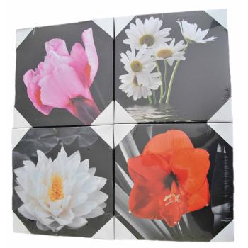 4-Set Bilder - Blumen - Wandbild auf Echtholz-Keilrahmen