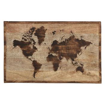 DekoDepot - Wandobjekt Weltkarte aus Mangoholz - 75cm