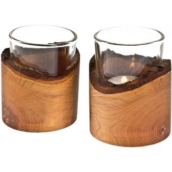 Davartis - Teelichtglas in Erle mit Rinde 8x6,5cm - 1...