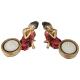 Davartis - Thailändischer Buddha Teelichthalter rot und goldfarben - 2er Set