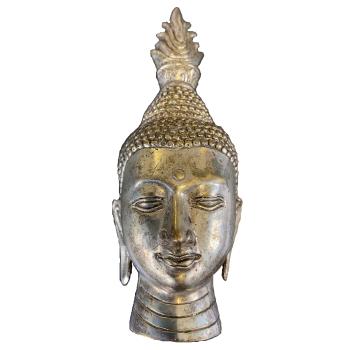 Dekodepot - Buddha Kopf aus Alpaka/Neusilber - 1 Stück