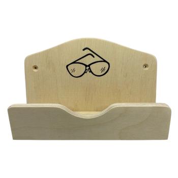 Sauna Brillenhalter / Brillenablage mit Bildmotiv aus Holz