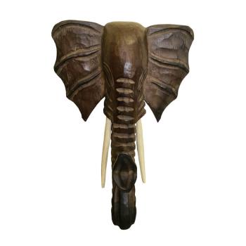 Afrikanische Dekofigur - Elefant Kopf - Theakholz
