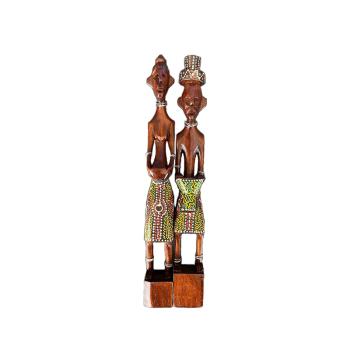 Davartis - Afrikanische Figuren - Rot/Gelb - 2er Set