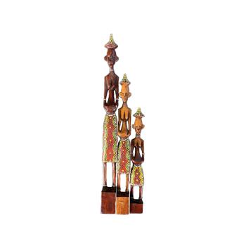 Davartis - Afrikanische Figuren - Rot/Grün - 3er Set