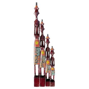Davartis - Afrikanische Figuren - Rot/Gelb - 4er Set - #2