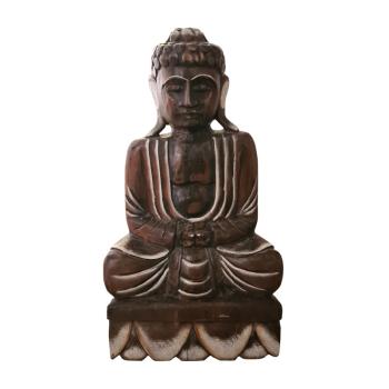 Davartis - Kräftiger Deko Buddha aus Holz - sitzend #2