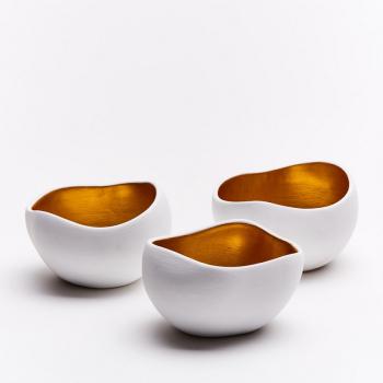 ANOQ - Kerzenhalter Gold - 3 Stück aus Keramik