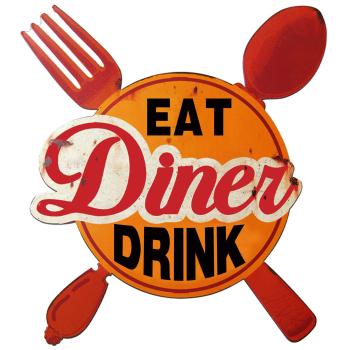DekoDepot - Geprägtes Blechschild - Diner Eat Drink