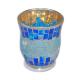 Davartis - Windlicht Glas Mosaik - blau / gold - 12 x 10cm