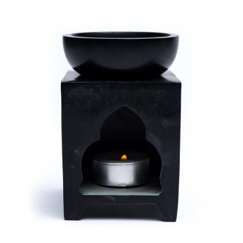 Davartis - Duftlampe Buddha aus Speckstein 11cm - schwarz