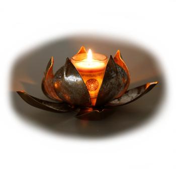 Davartis - Teelichthalter Lotus - gold-silberfarbend
